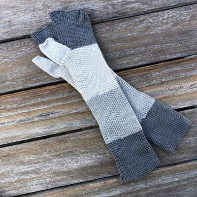 Lightweight Fingerless Mitts - Gray Stripes - Extra long length