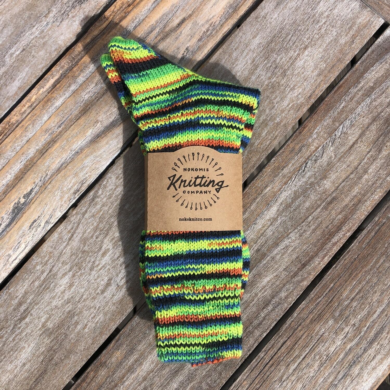 Men's Crew Socks Size 11 to 12 Giallo Verde Neon Green Handmade