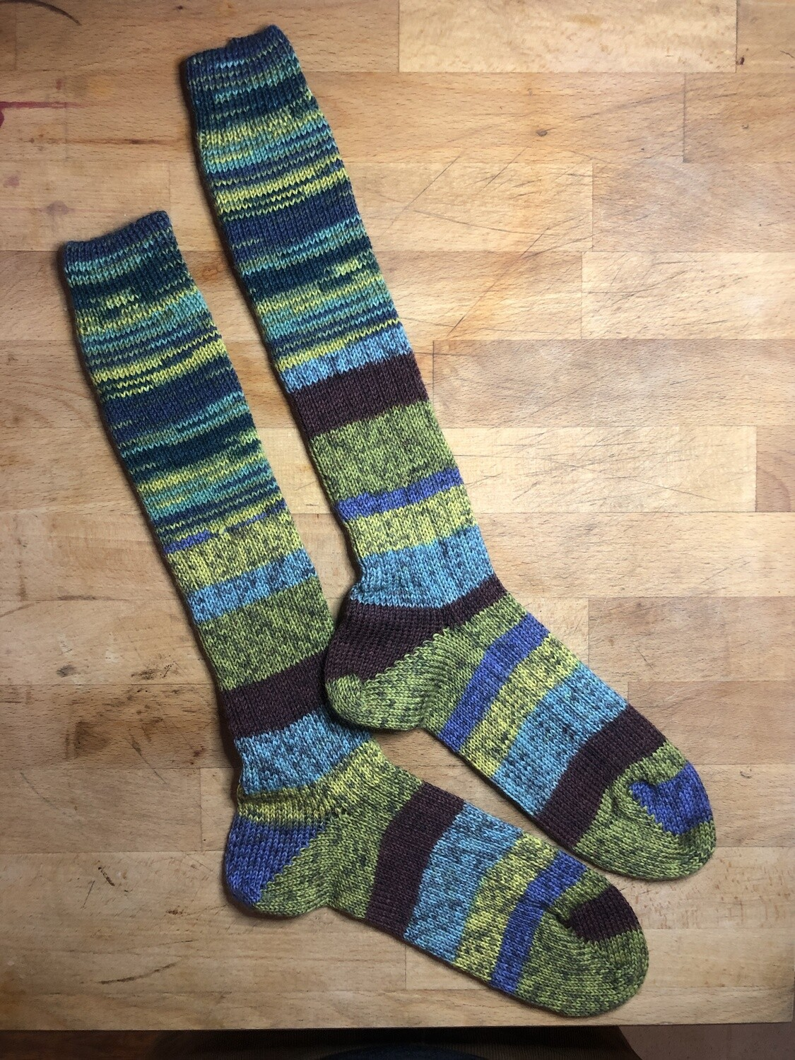 Woman's Tall Socks Size 8 to 9 - FrankenSock - blue, green, yellow