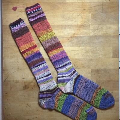 Woman's Tall Socks Size 10 to 11 - FrankenSock - pink, orange, yellow, green