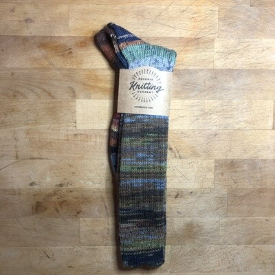 Woman's Tall Socks Size 9 to 10 - FrankenSock - blue, green, brown