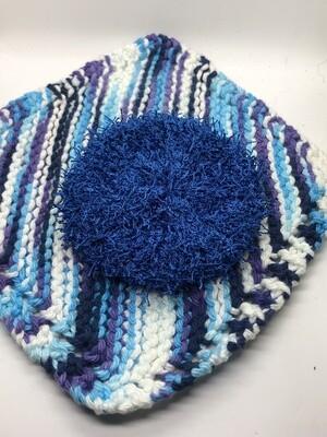 Washcloth & Scrubbie Set - Deep Ocean Blue