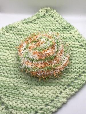 Washcloth & Scrubbie Set - Bright Lime Green