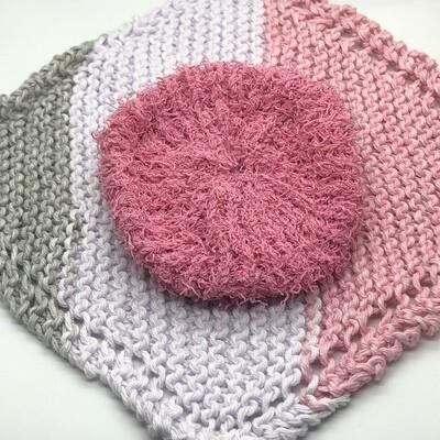 Washcloth & Cotton Scrubbie Set -Pink, White, Gray