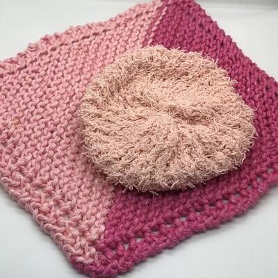 Washcloth & Cotton Scrubbie Set -Pink, Pink, and Pink