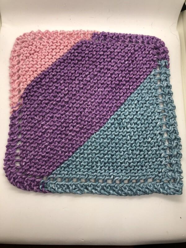 100% Cotton Washcloth - Pink Purple Blue - Hand Knit Classic Design