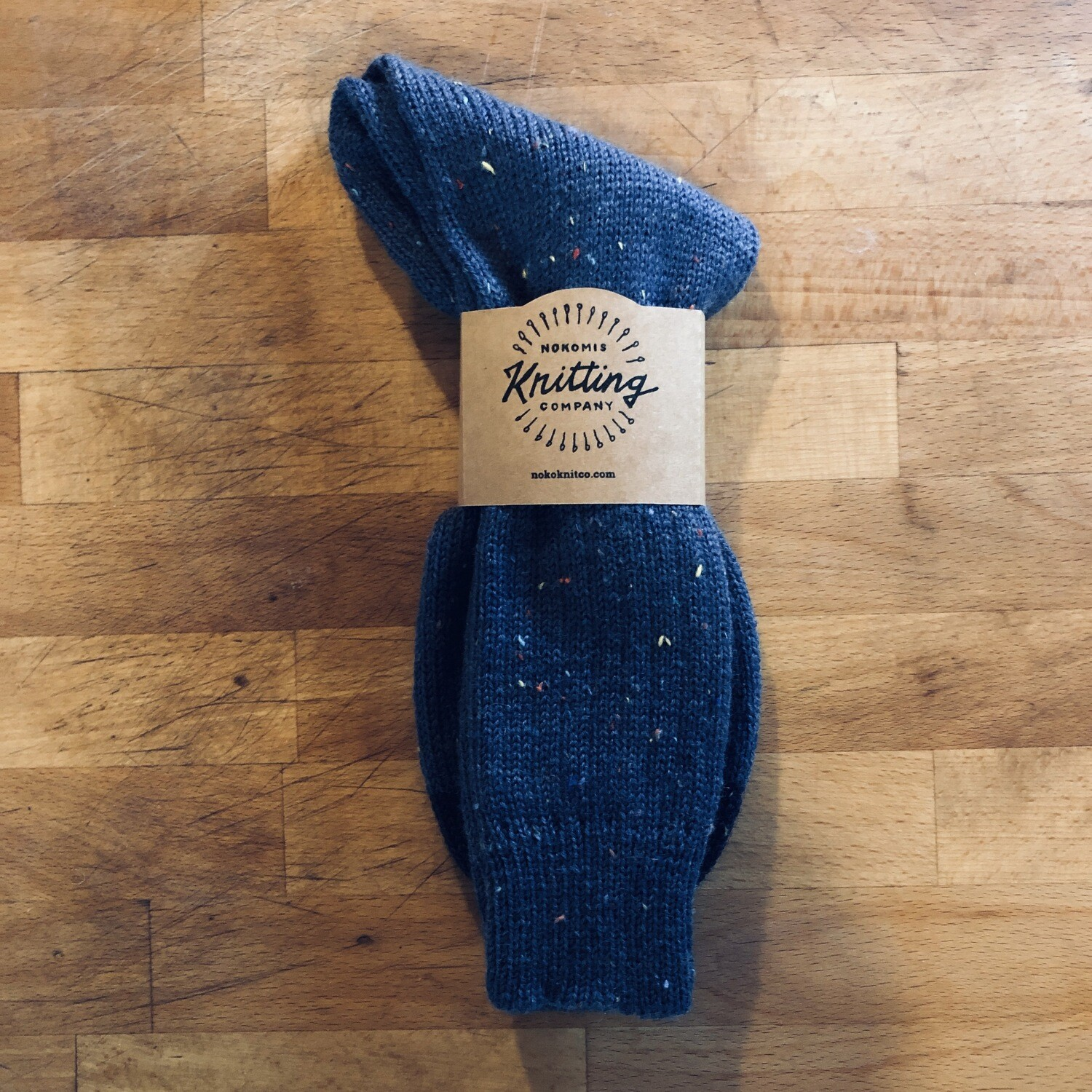 Men's Crew Socks Size 10 to 11 - Dress Tweed Blue with Navy Blue Toe
