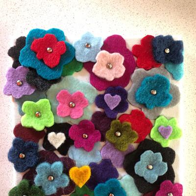 "Blooms - 5x5"" - Yarn Fiber Art"