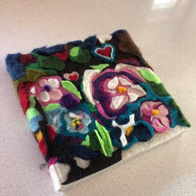 "Garden Abstract - 5x5"" - Yarn Fiber Art"