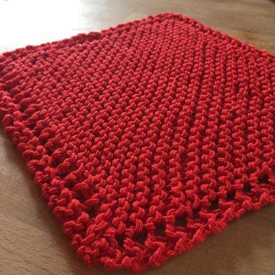 Cotton Red Washcloth - Classic Handknit Design
