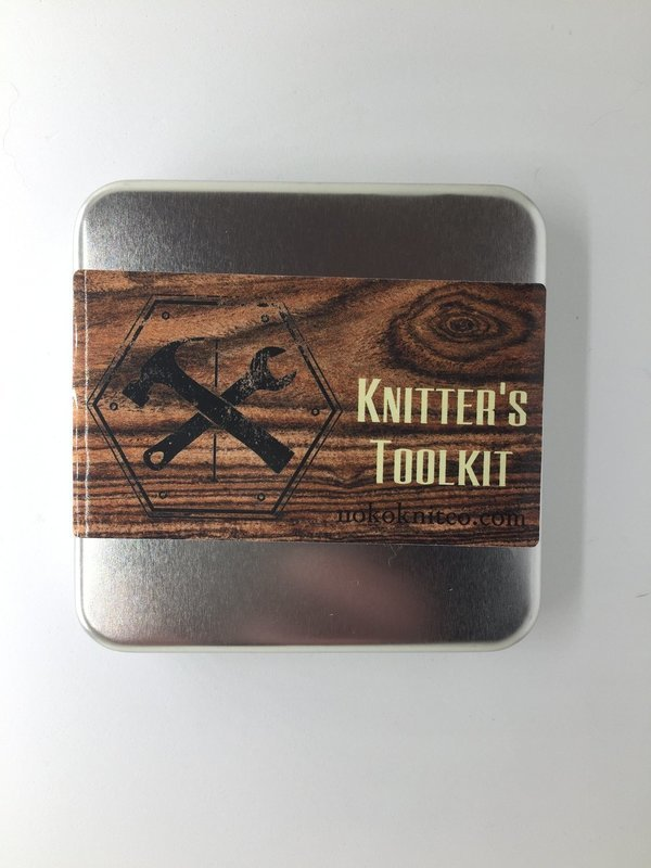 Knitting Toolkit - Metal box of tools for your knitting
