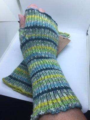 Lightweight Fingerless Mitts - Spring Green Stripes - long length