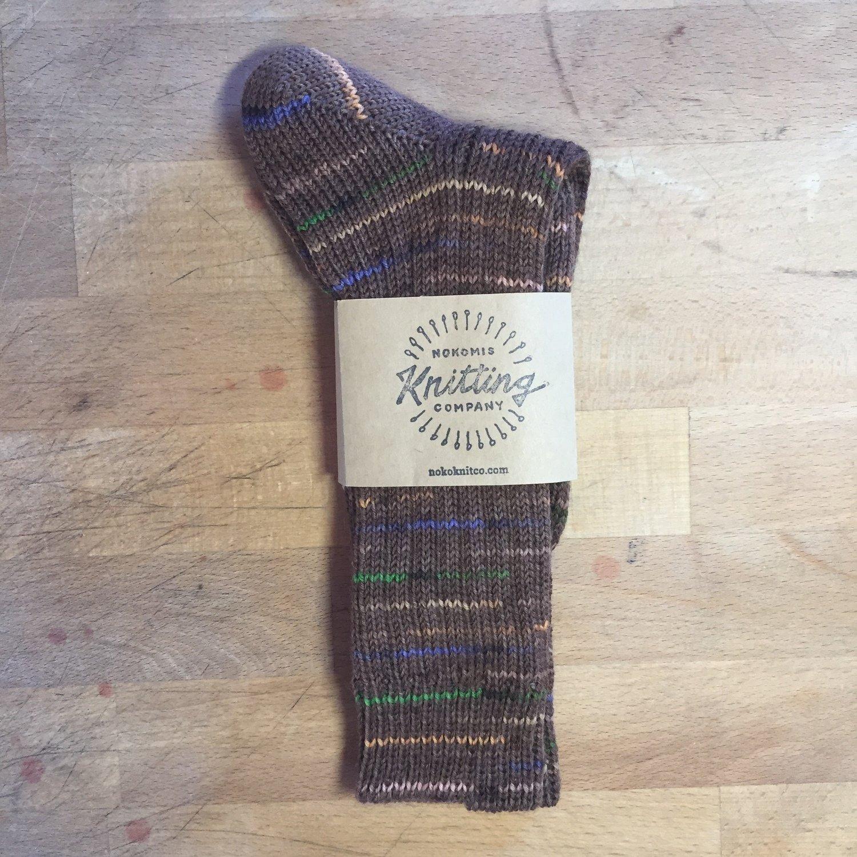 Women's Crew Socks Size 10 to 11 - Brown Confetti