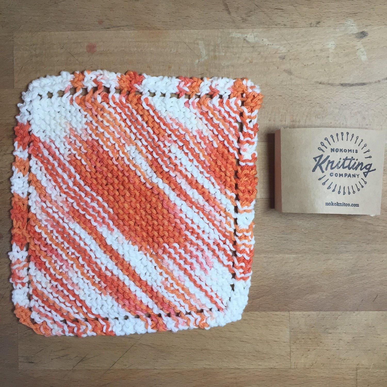 100% Cotton Orange White Washcloth - Hand Knit Classic Design