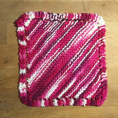100% Cotton Deep Pink Hues Washcloth - Hand Knit Classic Design