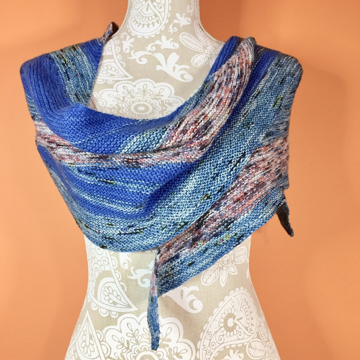Minnesota Lake Waves Reversible Shawl