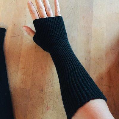 Lightweight Fingerless Mitts - Classic Black - Extra long length