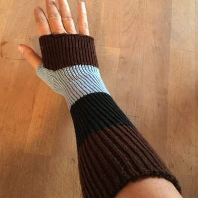Lightweight Fingerless Mitts - Powder Blue Black Brown Stripes - Long length