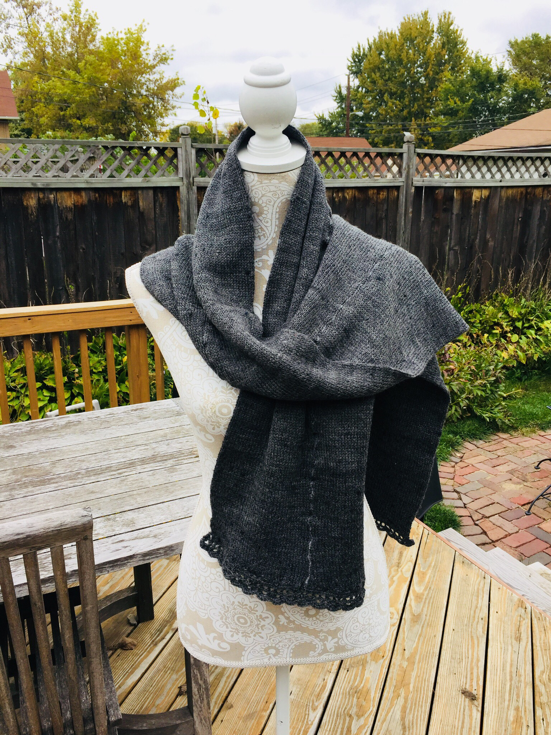 Charcoal Gray Wool Bulky Scarf or Shawl
