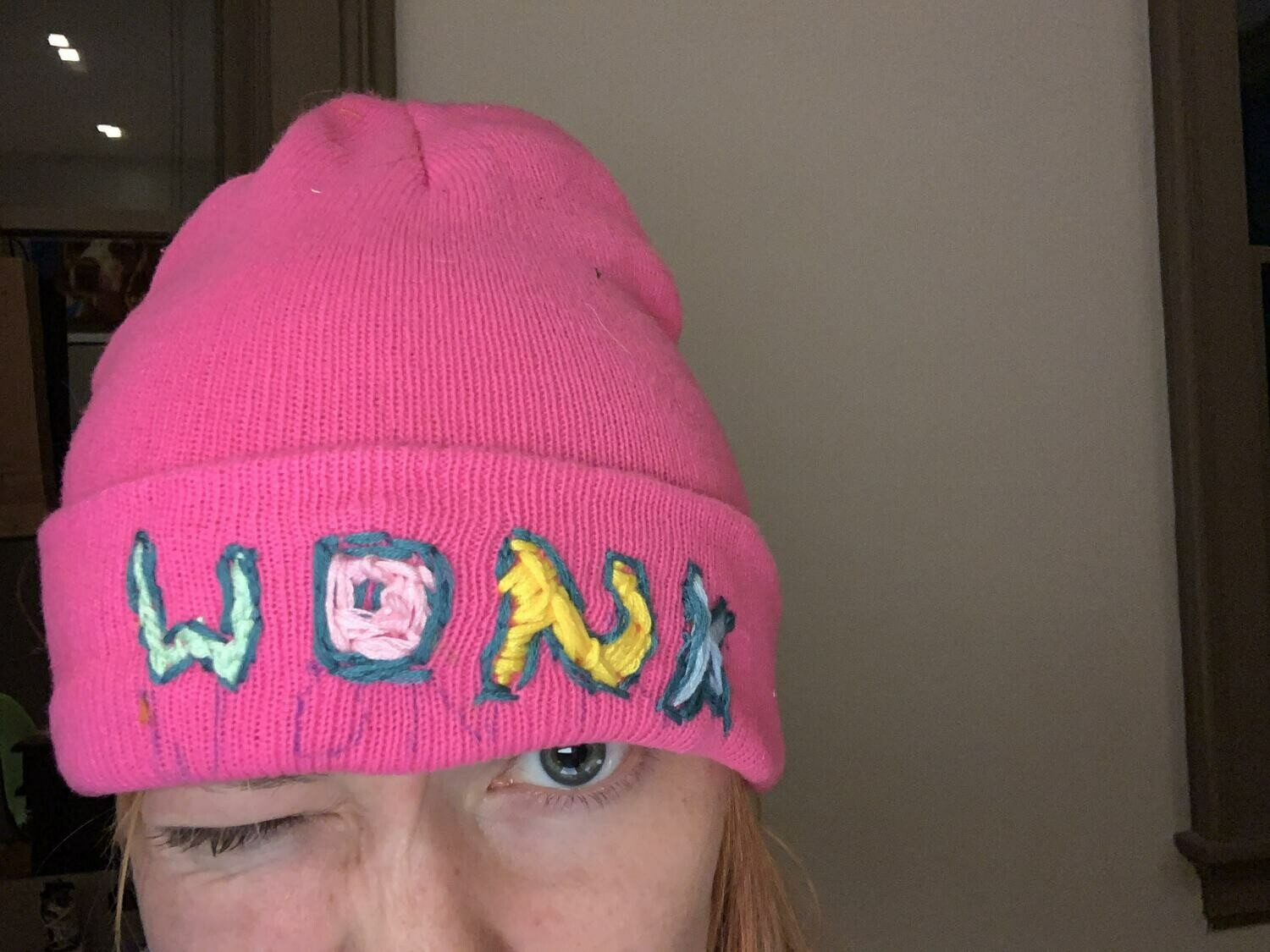 "Custom message, wonky ""embroidered"" Beanies!"
