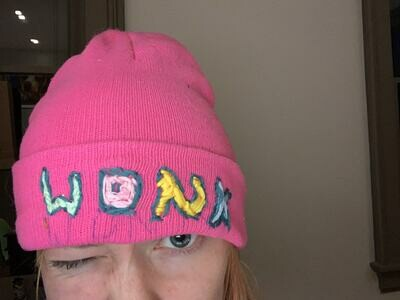"""Custom message, wonky """"embroidered"""" Beanies!"""