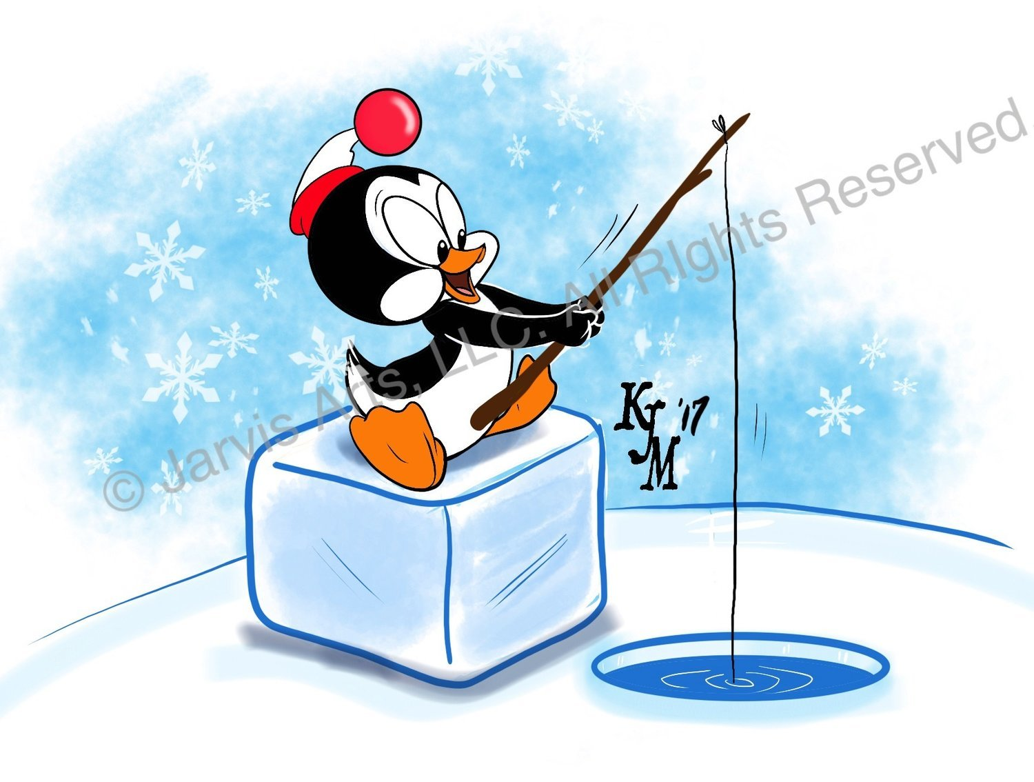 """""""Chilly"""" Friend Cartoon Penguin Limited Edition Print"""