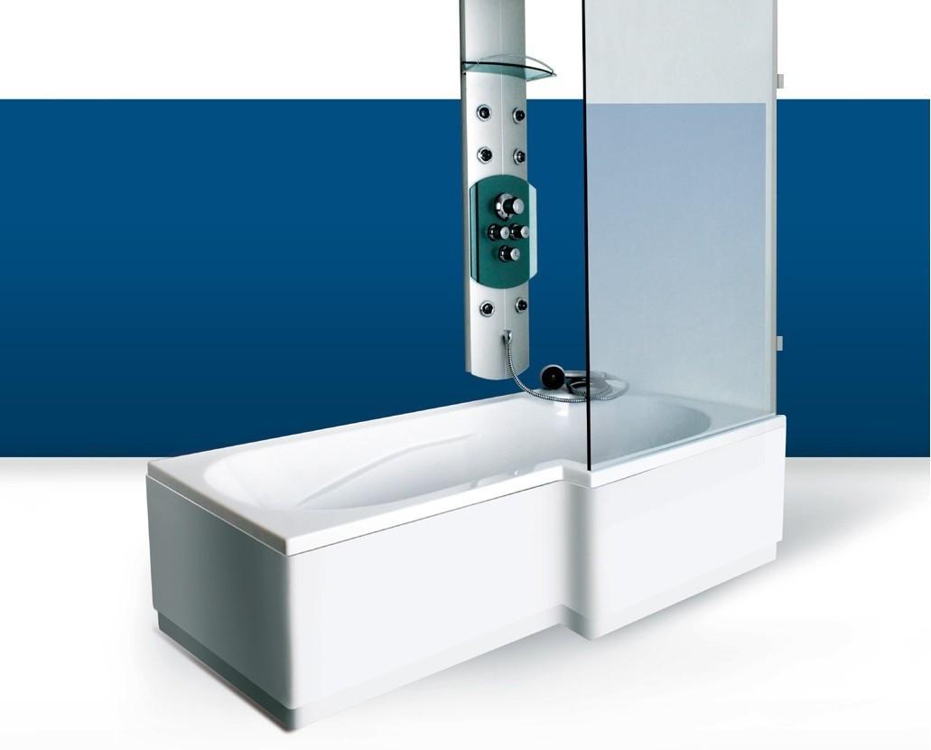 Paroi de baignoire Innovativ en verre trempé d'épaisseur 8 mm avec pinces en laiton chromé