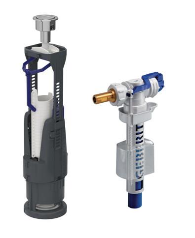 Mécanisme de chasse complet Geberit à double poussoir 3/6 litres + robinet flotteur (pour tout type de réservoirs apparents)
