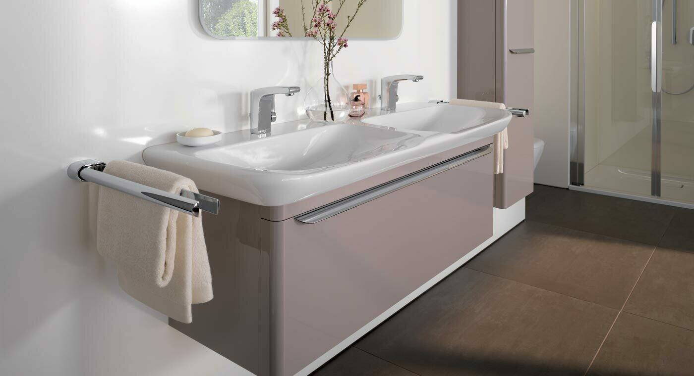 Meuble bas pour lavabo double Geberit / Keramag myDay 130 cm avec tiroir en taupe laqué ultra-brillant