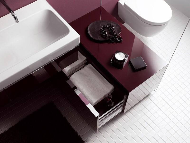Meuble latéral bas Geberit / Keramag iCon 89 cm avec un tiroir au sol en rouge bordeaux