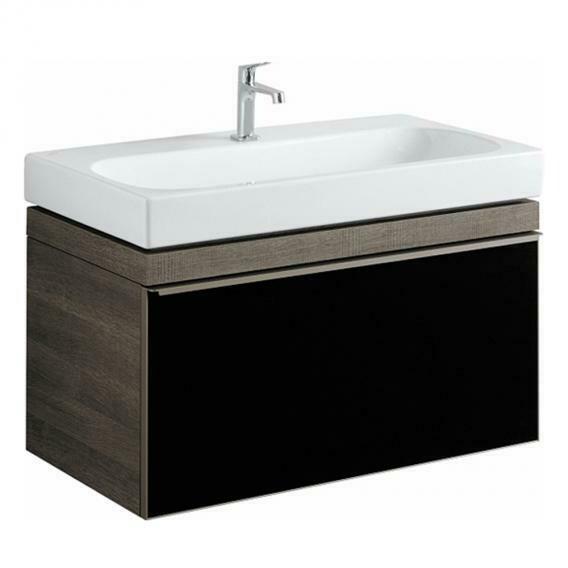 Meuble bas Geberit / Keramag Citterio pour lavabo 90 cm en brun-gris et tiroir en verre noir-brillant