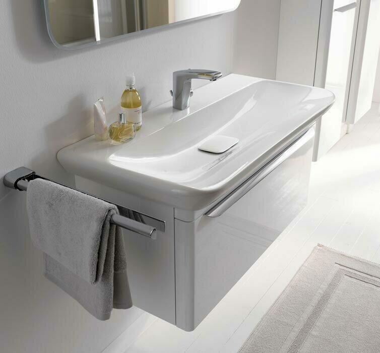 Meuble bas Geberit / Keramag myDay pour lavabo 100 cm avec un tiroir en blanc laqué ultra-brillant
