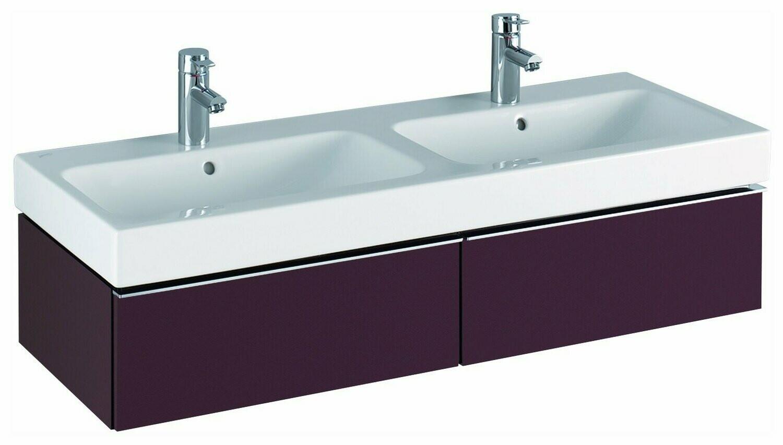 Meuble bas pour lavabo double Geberit / Keramag iCon 120 cm avec deux tiroirs en rouge bordeaux