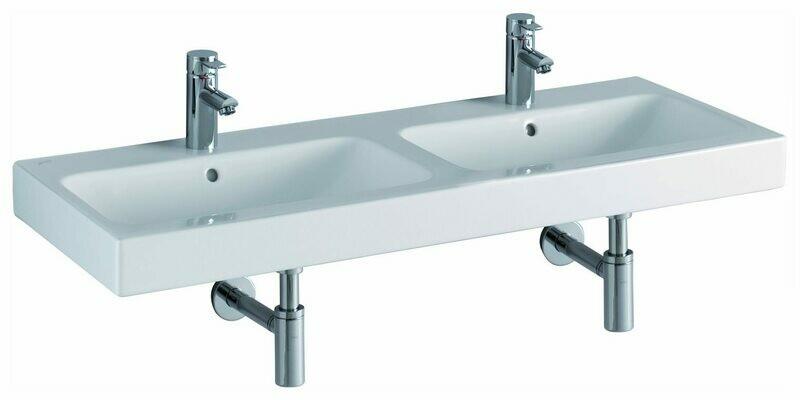 Plan-vasque double Geberit / Keramag iCon 120 cm avec deux trous pour robinetterie