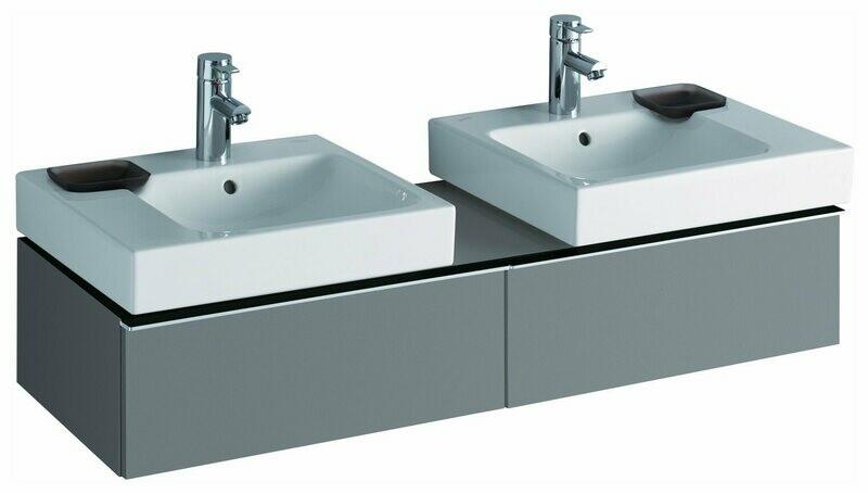 Meuble Keramag pour deux lavabos iCon 50 cm en platine ultra-brillant