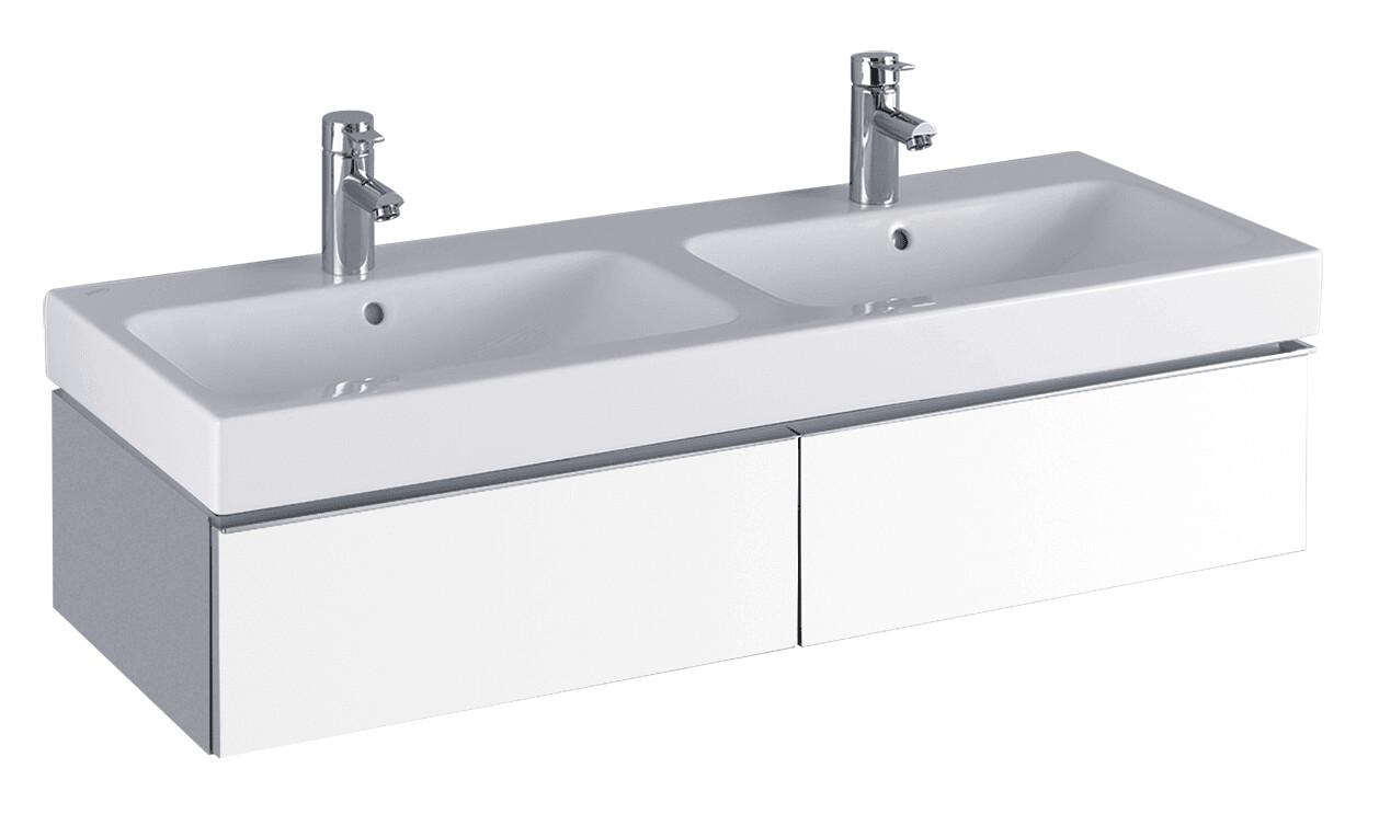 Meuble bas pour lavabo double Geberit / Keramag iCon 120 cm avec deux tiroirs en blanc laqué ultra-brillant
