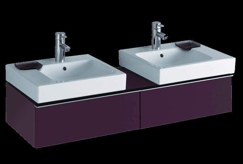 Meuble bas Geberit / Keramag iCon pour deux lavabos iCon 50 cm avec deux tiroirs et espace de rangement en rouge bordeaux