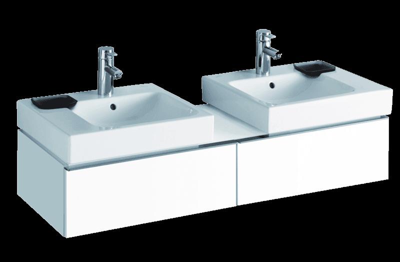 Meuble bas Geberit / Keramag iCon pour deux lavabos iCon 50 cm avec deux tiroirs et espace de rangement en blanc laqué ultra-brillant