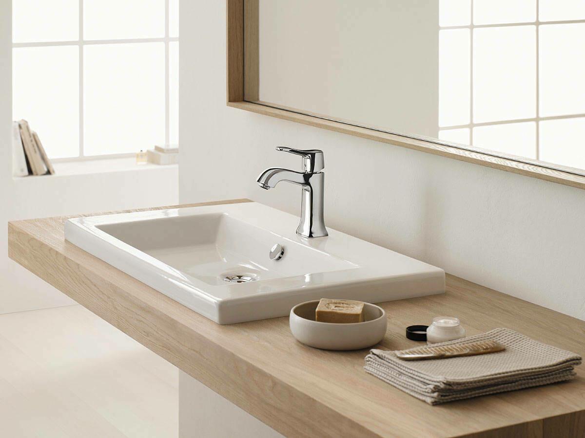 Mitigeur de lavabo Hansgrohe Metris Classic 100 en laiton chromé avec tirette et vidage