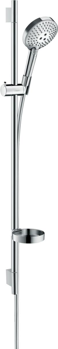 Barre de douche Hansgrohe avec douchette à main Raindance Select S 120 3 jets PowderRain avec flexible Isiflex et porte-savon Unica'S Puro
