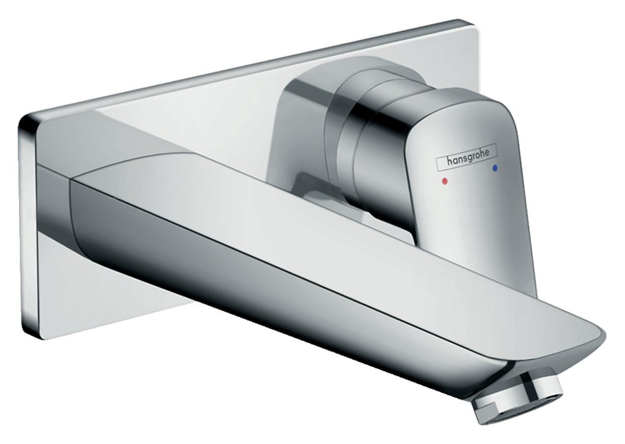 Mitigeur de lavabo encastré Hansgrohe 195 mm en laiton chromé