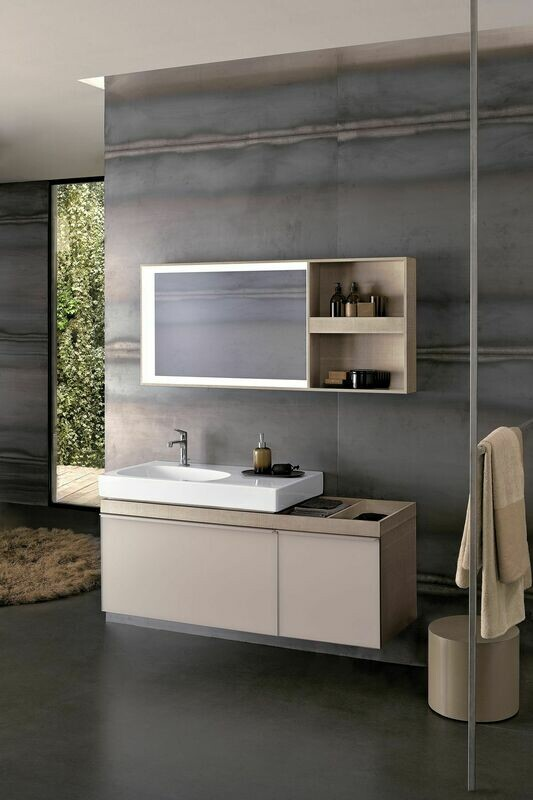 Plan-vasque Geberit Citterio 90 cm avec espace de rangement à droite
