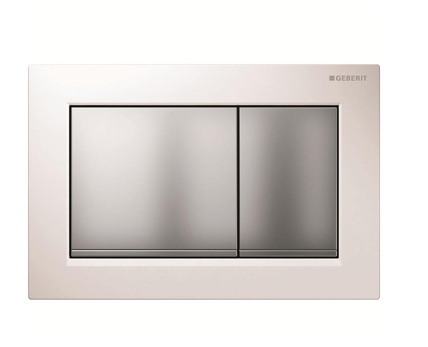 Plaque de déclenchement Geberit Omega30 pour rinçage double touche / Blanc - Chromé mat