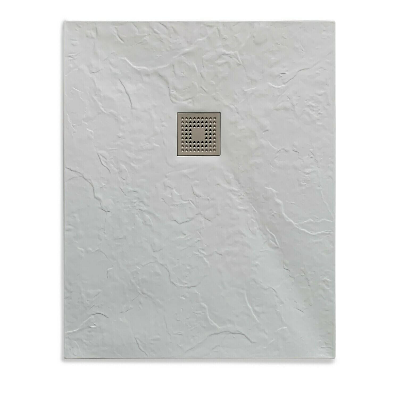 Receveur rectangulaire Ardoisé extra-plat et anti-dérapant 100 x 80 cm ou 120 x 80 cm avec grille carrée en inox et vidage