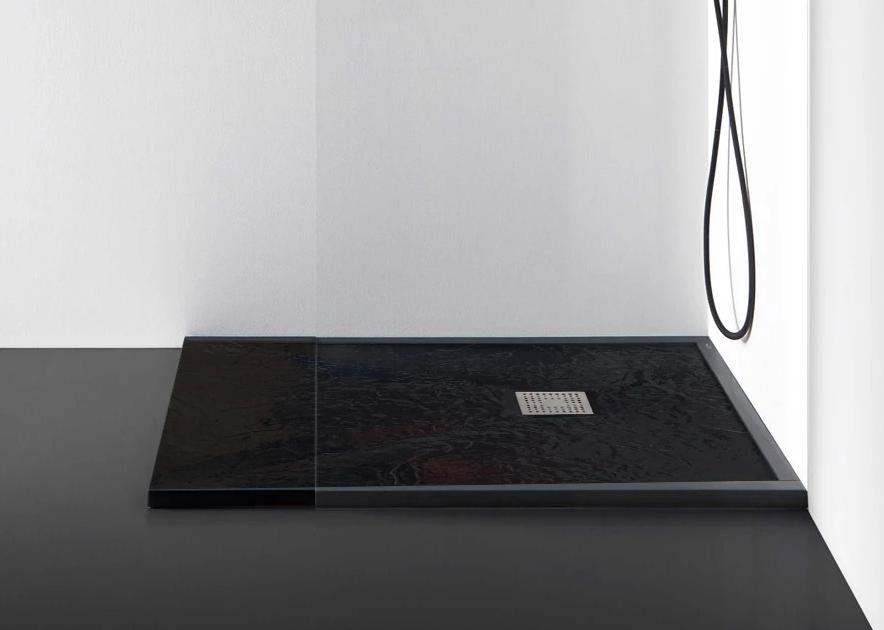 Receveur Ardoisé 100 x 80 cm ou 120 x 80 cm avec grille design en inox et vidage