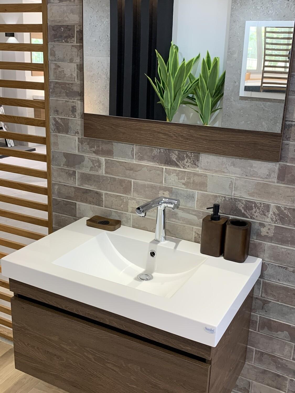 Plan-vasque Spazio 70 cm avec meuble et miroir