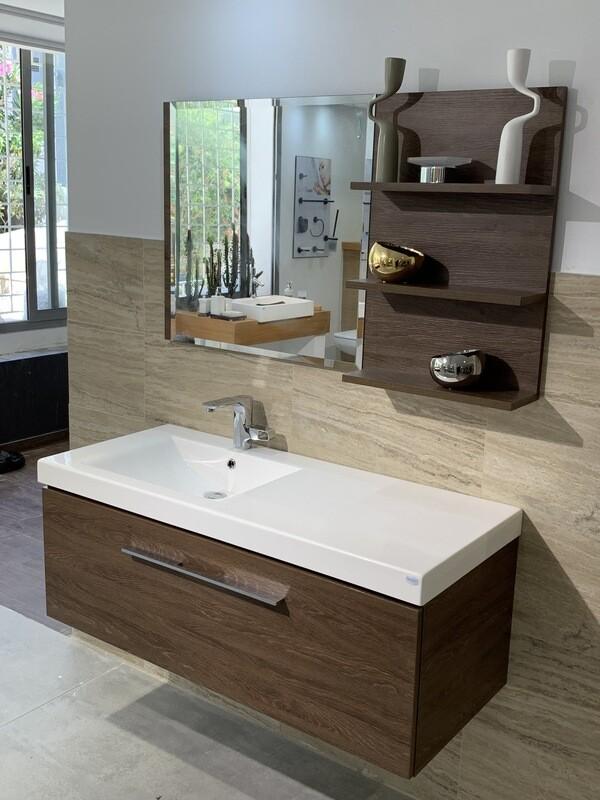 Plan-vasque Spazio 120 cm décentré avec meuble