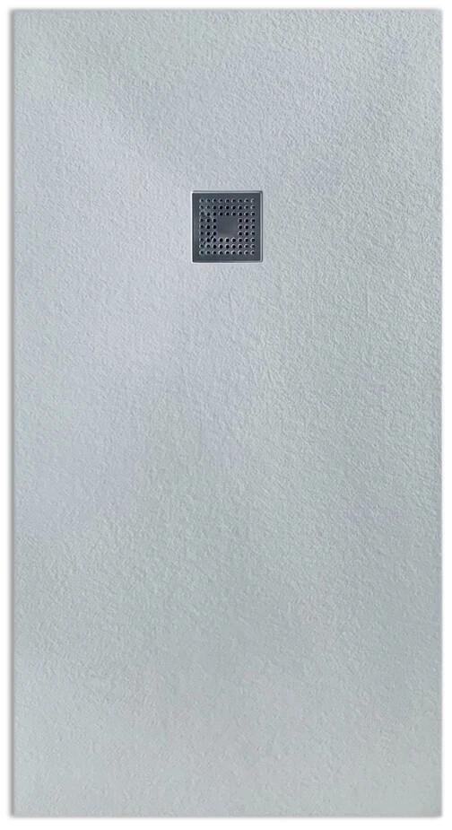 Receveur rectangulaire Vulcanite extra-plat et anti-dérapant (130 à 150 cm) x 80 cm avec grille design en inox et vidage