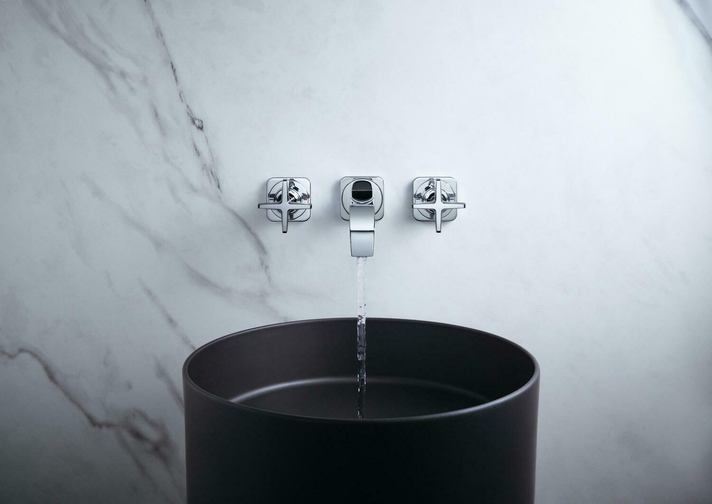 Mélangeur de lavabo 3 trous encastré AXOR Citterio E 220 mm en laiton chromé