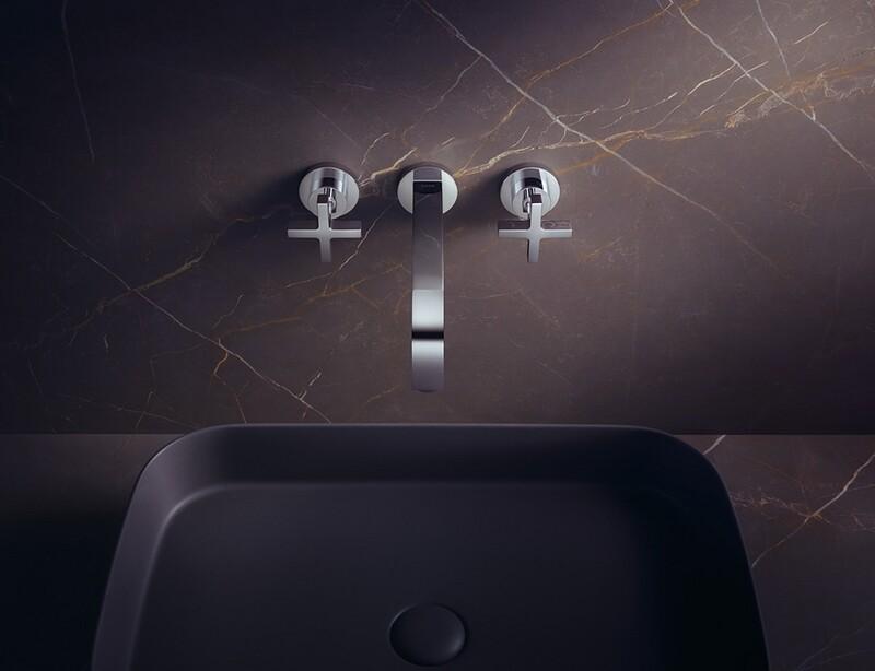 Mélangeur de lavabo 3 trous encastré AXOR Citterio 162 mm en laiton chromé